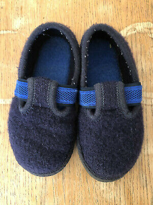Haflinger - Navy Blue Pure New Boiled Wool Slippers Kids Boys Girls - 28 / UK10 • 5£