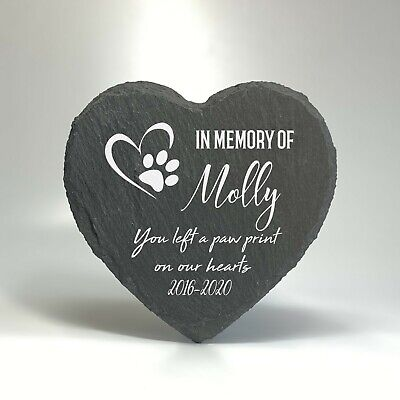 Personalised Pet Memorial Stone Slate Heart Grave Marker Plaque For Cat Dog 2020 • 8.95£