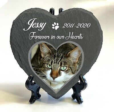 Personalised Pet Memorial Stone Slate Heart Grave Marker Plaque Display Stand • 7.45£