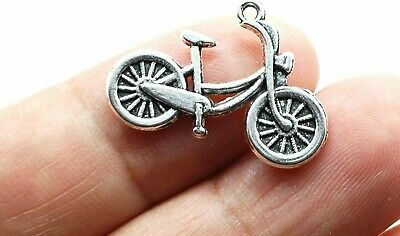£2.90 • Buy 5 Bicycle Charms Antique Silver Tone Cycling Pendants Bike Findings 26mm
