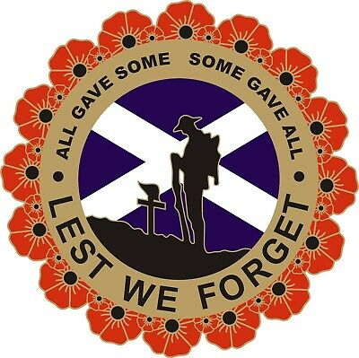 POPPY CAR STICKER WITH SOLDIER, WREATH AND SCOTLAND FLAG - Remembrance Day • 2.75£