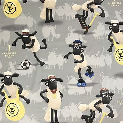 Shaun The Sheep Grey Novelty Fabric 100% Cotton Kids Childrens Per Metre • 9.95£