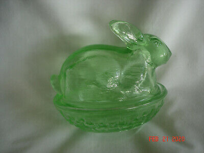 $27.79 • Buy Vtg. L.E. SMITH GREEN GLASS COVERED BUNNY RABBIT CANDY TRINKET DISH W/LABEL USA