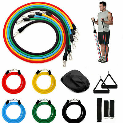 $ CDN17.01 • Buy New Resistance Bands Workout Exercise Yoga 11 Piece Set Crossfit Fitness Tubes