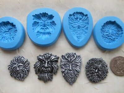 1x Sugarcraft/Fimo MOULD: GREEN MAN  (Chocolate Clay Resin Wax PMC) Pagan Wiccan • 4£