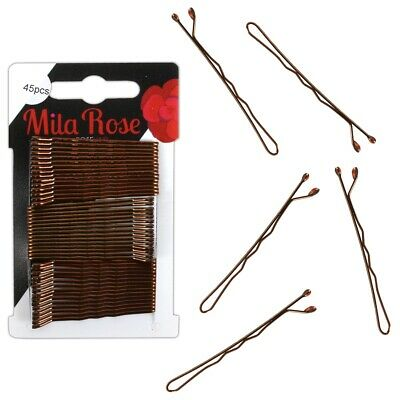 42x SMALL BLACK HAIR GRIPS Waved Curly Afro Straight Space Buns Clips Hairpins • 1.98£