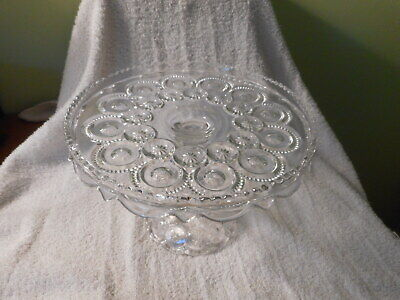 $19.99 • Buy Vintage L E Smith Moon And Stars Clear Glass Cake Stand With Ruffled Edge