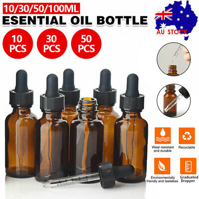 AU13.69 • Buy 10-50ML Amber Glass Liquid Dropper Reagent Eye Pipette Essential Oils Bottle AU