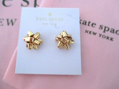 $ CDN53.56 • Buy Kate Spade Gold Bourgeois Bow Stud Earrings NEW WITH Pink DUST BAG & GIFT BAG