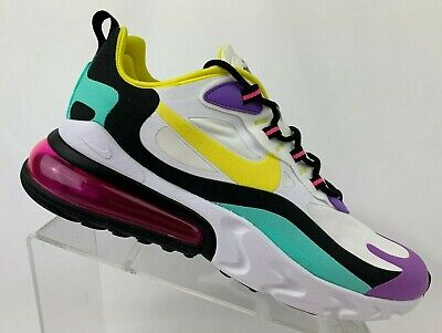$100 • Buy Nike Men's Air Max 270 React 'Geometric Abstract' White Yellow Bright Violet