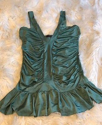 AU11 • Buy Ladies Green Top Lolitta Size 10 Womens Clothing Girls Pre Loved V Neck