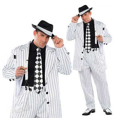 Adults Pinstripe Daddy 1920s Gangster Suit Fancy Dress Costume Mens Party Outfit • 14.99£
