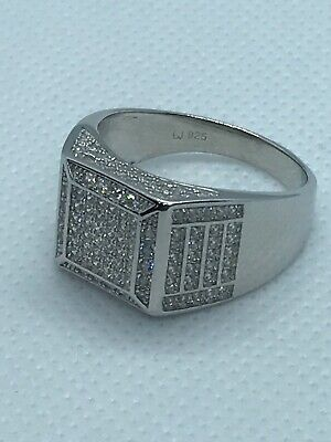 £38.50 • Buy 925 Sterling Silver Solid Half Band CZ Pinky Ring All Sizes Brand New