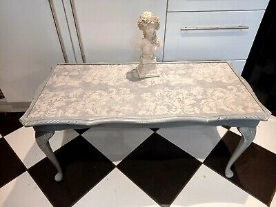 Wood  Shabby Chic Coffe Table With Removable Glass Top In Shades Of Grey • 45£