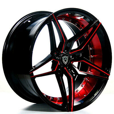 $1289 • Buy 20  Staggered Marquee Wheels M3259 Black Red Inner Rims Popular
