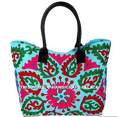 Indian Suzani Embroidery Turquoise Pretty Shoulder Bag Ladies Fashion Tote Bag • 34.99£