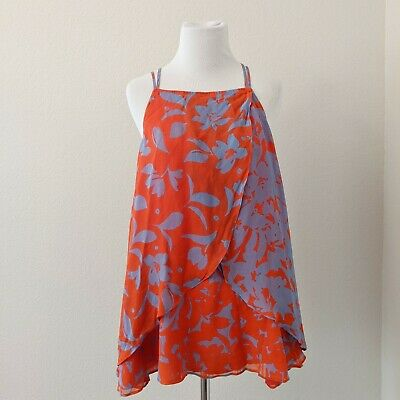 $ CDN28.27 • Buy Maeve Anthropologie Size Large Red Blue Floral Sleeveless Strappy Top