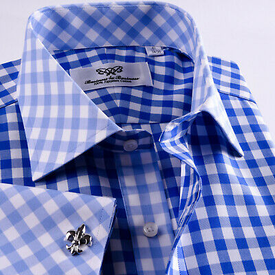 Quality Blue Check Unique Designed Business Shirt Easy Iron Wrinkle Free Top • 48.99£