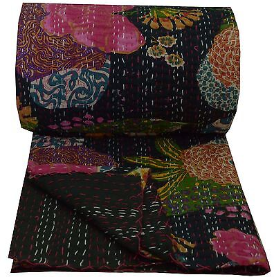 Indian Cotton King Size Kantha Quilt Decor Floral Bedspread Blanket Throw Ralli • 59.99£