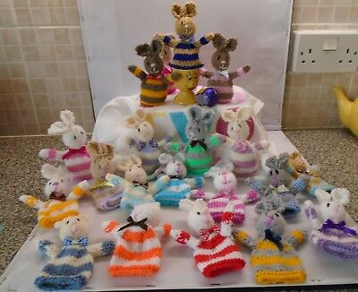 Hand Knit Easter Bunnies Or Chicks • 1.95£