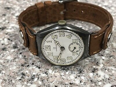 ANTIQUE 1920s OMEGA MILITARY TRENCH STERLING WRISTWATCH • 643.75£