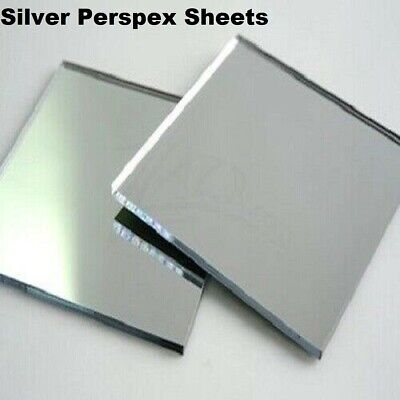 Silver Acrylic Mirror Perspex Sheet Plastic Material Panel A6 A5 A4 A3 & More! • 3.99£