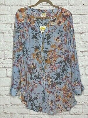 $ CDN52.07 • Buy XL/1X/2X/3X New Anthropologie Floral Baby Blue Long Shirt Jacket Blouse Top