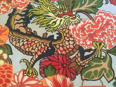 SCHUMACHER Chiang Mai Dragon II TABLE PRINT INDOOR/OUTDOOR FABRIC Remnant Piece • 17.50£