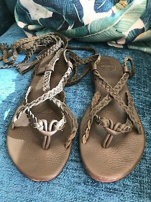 £120 Green Khaki  DONCHOO Braid Leather Gladiator Sandals EU 39 [USED]  • 25£