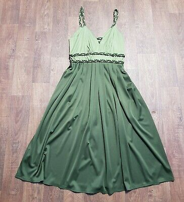 AU89.13 • Buy 1970s Vintage Olive Green Plaited Evening Dress UK Size 10 Vintage Clothing