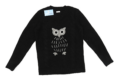 £7 • Buy Cotton Traders Womens Size 10-12 Graphic Black Midweight Owl Jumper (Regular)