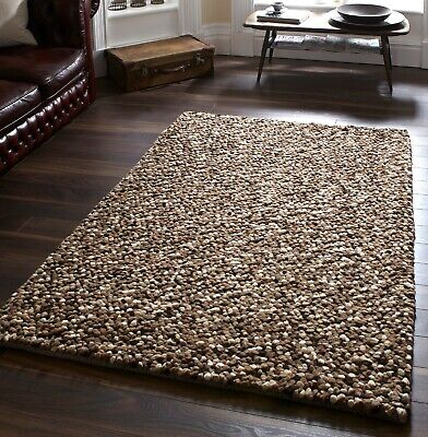 Large Thick Beige Brown Mix Pebbles Bobbles Bobbly 100% Wool Rug Clearance • 229.79£