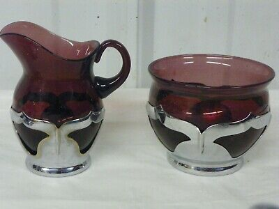 $22.95 • Buy Farber Bros Krome Kraft Amethyst Open Sugar Bowl & Creamer Cream Pitcher Set