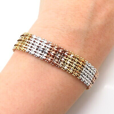 $95.99 • Buy 925 Sterling Silver 3-Tone Italy Itaor Foxtail Link Bracelet 7 1/4