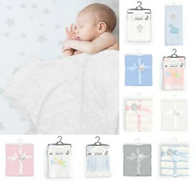 £8.95 • Buy Large Baby Shawl Blanket Wrap Christening Gift Boys & Girls Knitted With Ribbon