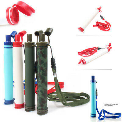 $12.44 • Buy Camping Hiking Emergency Life Survival Portable Purifier Water Filter Straw