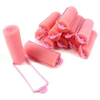 12Pc PINK COMPACT HAIR ROLLERS KIT WITH CASE Soft Sponge Clip Sleep In Curl Wave • 4.99£