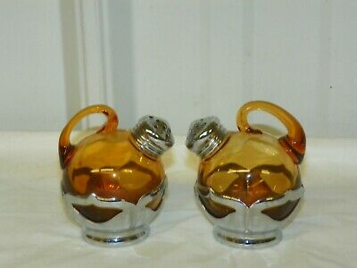 $20.95 • Buy Vintage Farber Bros Krome Kraft Tilt Salt & Pepper Shaker Set Gold Amber