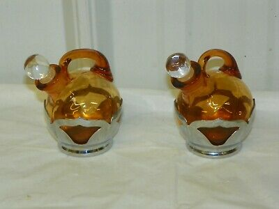 $22.95 • Buy Farber Bros Krome Kraft Gold Amber Vinegar & Oil Sauce Cruet Set