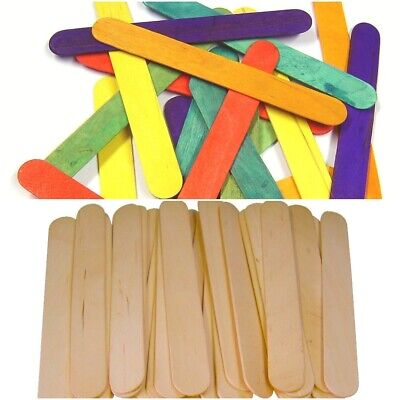 Large Jumbo NATURAL OR COLOURED Wooden Lollipop Ice Lolly Sticks Kids Art Craft • 0.99£