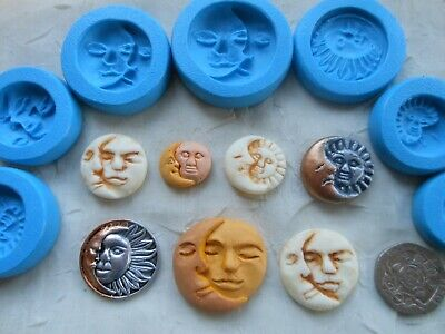 1x Sugarcraft/Fimo MOULD: MOON SUN FACE (Clay Resin Wax PMC Chocolate Plaster) • 3.50£