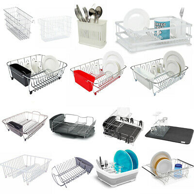 AU26.99 • Buy Dish Rack Drying Cutlery Drainer Drain Tray Draining Board Mat Utensils Caddy