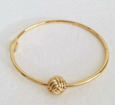 $ CDN60 • Buy Kate Spade Knotted Rope Ball Hinged Bracelet 6.5  Gold EUC With Original Pouch