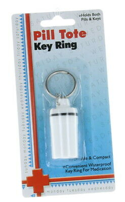 $5.99 • Buy Waterproof Keychain Pill Holder Key Ring Tote Travel Container Medication Bottle