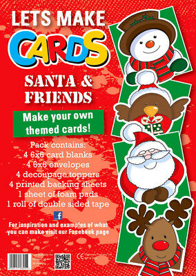 Lets Make Cards FULL Kit Childrens Cut & Create Decoupage SANTA & FRIENDS XMAS • 4.99£