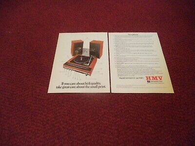 Hmv Model 2459 Record Player Hi Fi   Vintage  Magazine  Advert • 6£