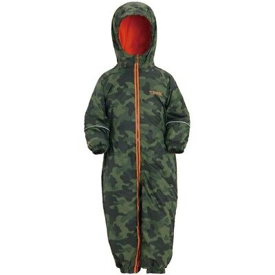 Regatta Printed Splatt II Kids Waterproof Breathable Hooded Suit Camo 6-12m • 19.99£