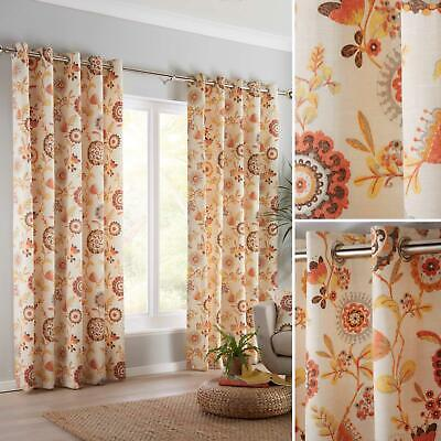 Orange Eyelet Curtains Floral Retro Geometric Ready Made Ring Top Curtain Pairs • 29.95£