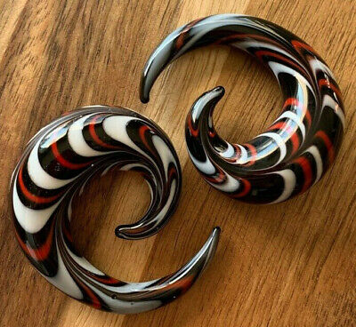 $10.99 • Buy PAIR Red, White & Black Glass Spiral Tapers Expanders Plugs Gauges Body Jewelry