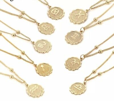 Star Sign Zodiac Unisex Astrology Coin Necklace Chain Pendant Beads Gift UK Asos • 4.99£
